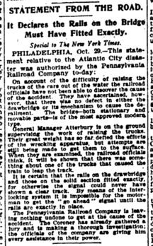 Abdruck der ersten Pressemitteilung der Geschichte: Statement from the Road, New York Times, 30. Oktober 1906